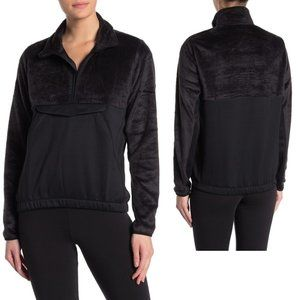 Adidas Black Mixed Media 1/2 Zip Fleece Jacket